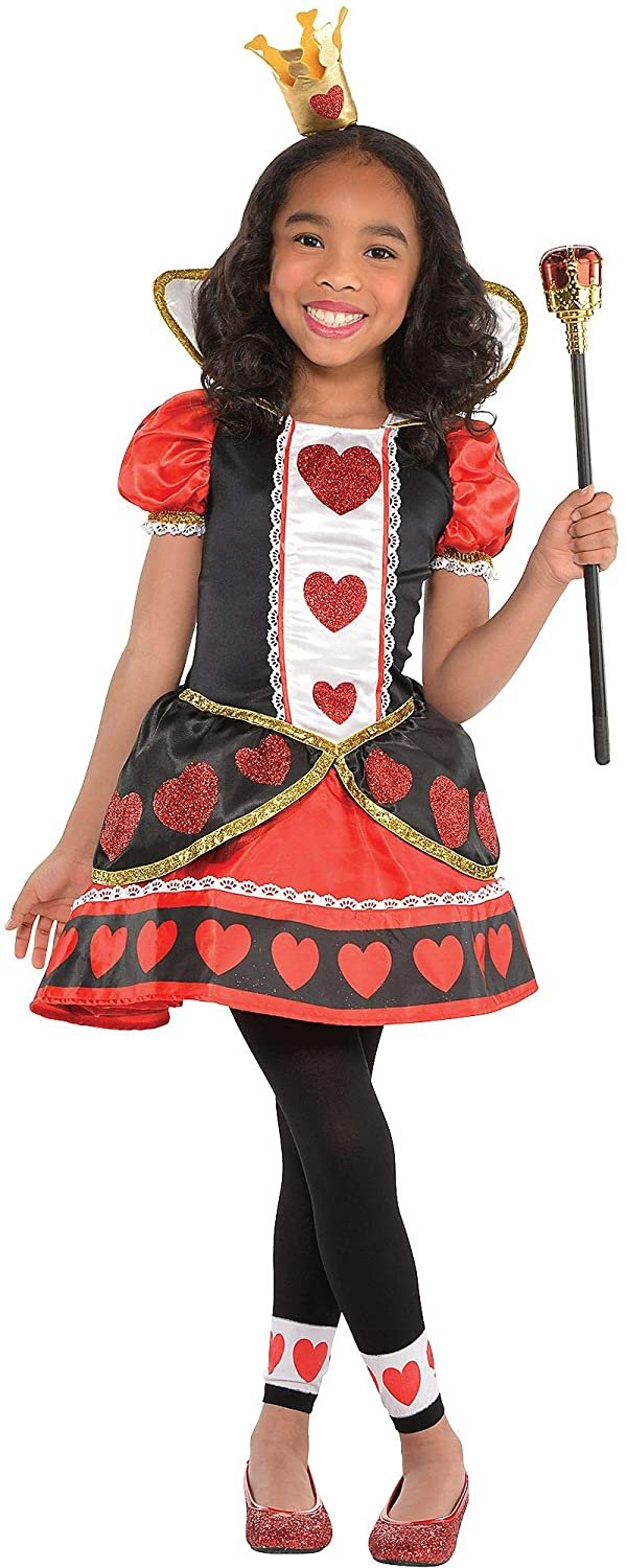 Costumes USA Queen of Hearts Costume for Girls, Size Medium, Includes a Red and Black Dress, Crown Headband, and Tights