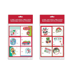 B-THERE Bundle of 24 Peel & Stick Christmas Gifting Labels with Crystal Sticker, Holiday Gift Tags Gifting Supplies
