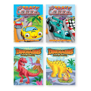 Bundle of 4 Cars and Dinosaurs Coloring Books