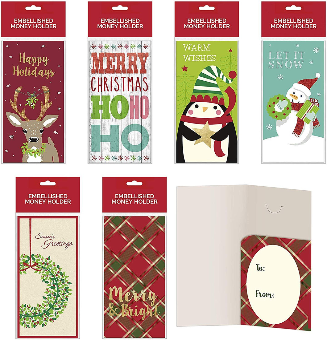 B-THERE Bundle of Assorted Embellished Holiday Gift Cards, Money Holders Set of 6 Cards for Christmas Gifting