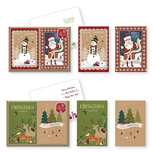 24 Count Christmas Holiday Boxed Cards Folk Kraft