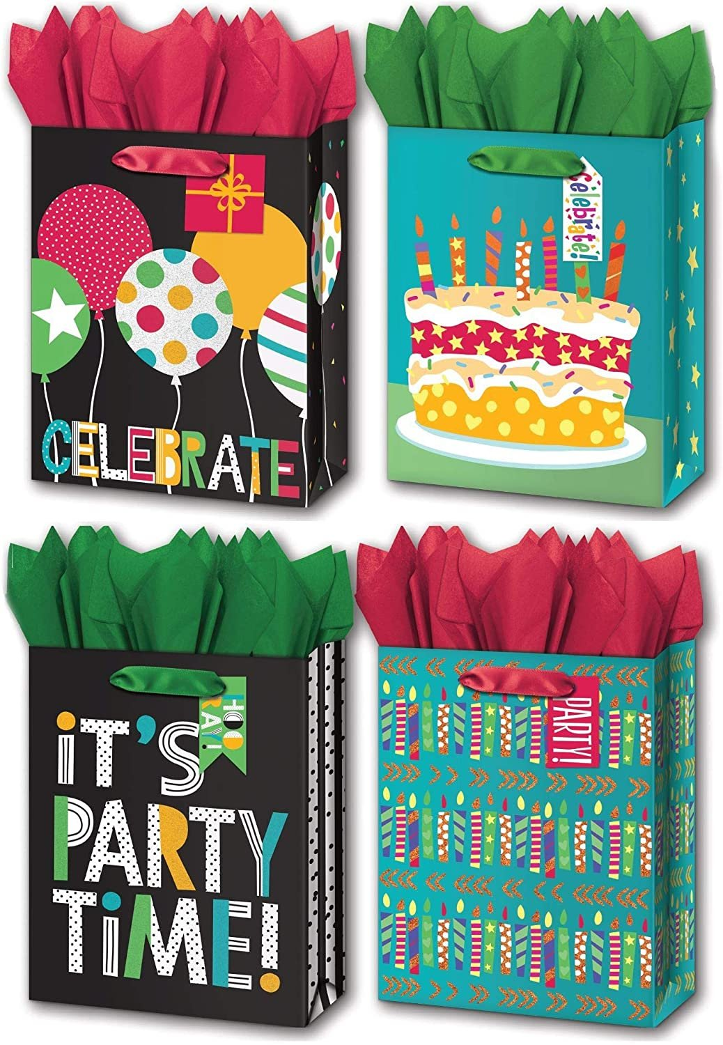 "B-THERE Bundle of 4 Medium 7"" x 9"" x 4"" Birthday Party Gift Bags with Tags, Tissue for Men, Women, Special Occasion"