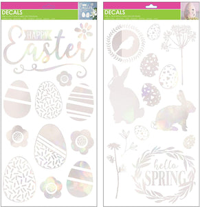 "B-THERE Bundle of Easter Foil Decorations 8"" x 17"" Window Clings, Spring Decorations"