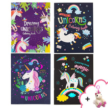 Load image into Gallery viewer, B-THERE Unicorn Coloring Books for Kids Adults, and Teens Set of 4 Books with Stuffed Animal Keychain