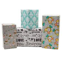 Load image into Gallery viewer, B-THERE Wedding Gift Wrap Wrapping Paper for Women, Men, Party, Adults. 4 Different Designs of 6 ft X 30 Roll! Includes Rings, Bells, Cake, Hearts, Love, Bride and Groom