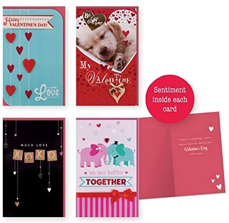 Valentines Day Card Set of 4 Large for Women & Men With Puppies, Elephants, and More