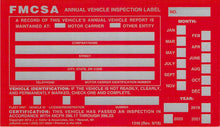 "Load image into Gallery viewer, Annual Vehicle Inspection Label with Punch Boxes 20-pk. - Aluminum, Permanent Self Adhesive, 6"" x 3.5"" - Meet DOT AVIR Requirements - J. J. Keller & Associates"