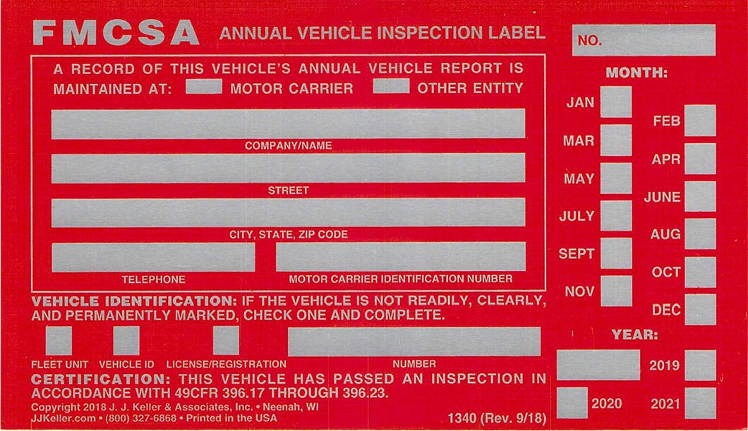 Annual Vehicle Inspection Label with Punch Boxes 20-pk. - Aluminum, Permanent Self Adhesive, 6