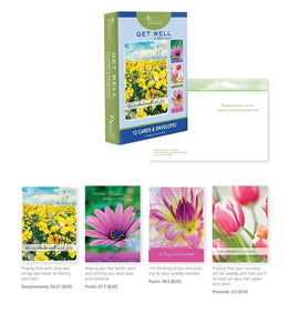 12 Count Boxed Get Well Bulk with KJV Scripture, Flowers Greeting Cards for Her for Him