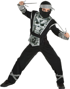 Party City Light-Up Ninja Skeleton Halloween Costume for Boys, Includes Mask, Top with Lights and Battery