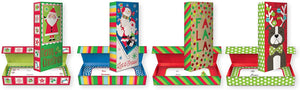Bundle of 4 Glitter and Foil Finish Christmas Gift Card Holder Box for Small Gifts or Gift Cards