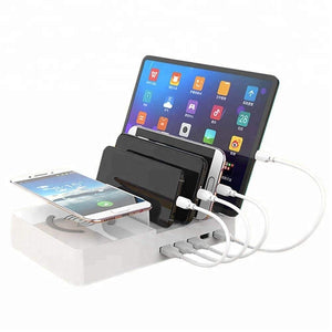 B-THERE Multiple 5-Port USB Charger Desktop Cell Phone Docking Station Wireless Charging Station for Multiple Phones