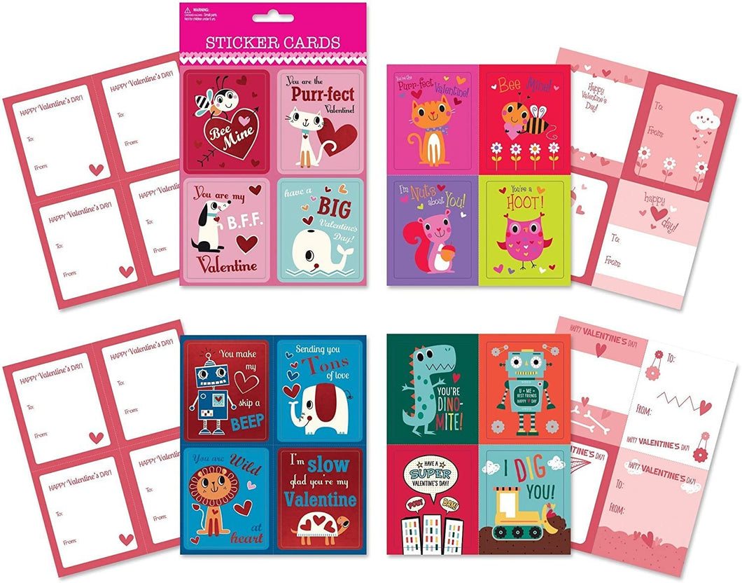 B-THERE School Valentine Day Sticker Cards - Pack of 64 Cards. Fun & Cute Designs Featuring Foil & Sentiments, Kids Valentines Cards