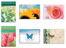 Load image into Gallery viewer, Assorted Thank You Appreciation Cards Bulk Blank Note Cards Set 48 Pack Assortment & 6 Designs, Baby Shower, Wedding, Bridal Shower, Condolence, Butterfly, Flower