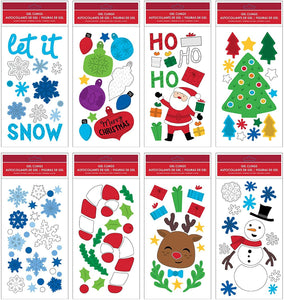"B-THERE Bundle of Merry Christmas Holiday 5.5"" x 12"" Window Gel Clings, Snowman, Snowflakes, Santa Claus, Trees, Ornaments and More"