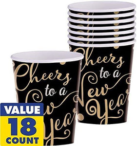 amscan Elegant New Year Party Cheers to a New Year Paper Cups, Black, 9 oz