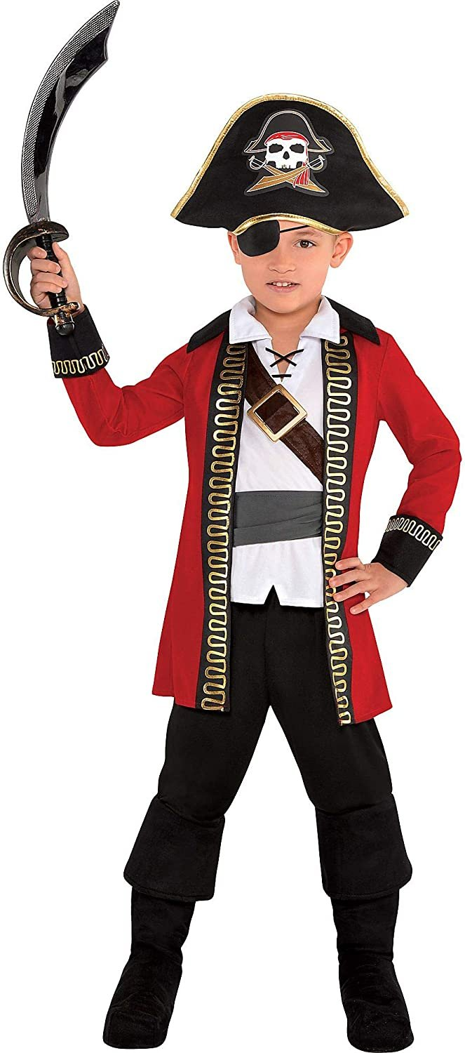 amscan 8400018 Boys Pirate Captain Costume - Toddler (3-4) 1 Set, Multicolor, One Size