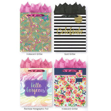 Load image into Gallery viewer, Pack of 4 Large All Occasion Gift Bags. Assortment of Foil and Glitter Embellishments