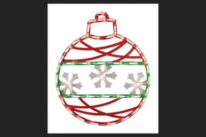 "17"" Red Green and White Lighted Christmas Ornament Window Silhouette Decoration -"