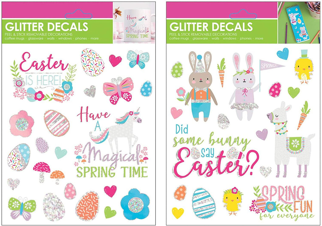 B-THERE Bundle of Easter Glitter Stickers, Peal and Stick Removable Decals for Books, Cards, Windows, Glass with Llama, Unicorn, Bunny & More