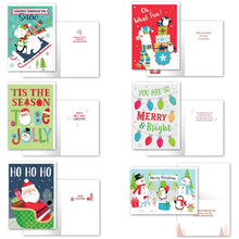Load image into Gallery viewer, B-THERE Bundle of 36 Christmas Cards, Assorted Holiday Cards 6 Designs Juvenile. 4.5in x 6.5in Money Enclosure Cards with Envelopes for Xmas