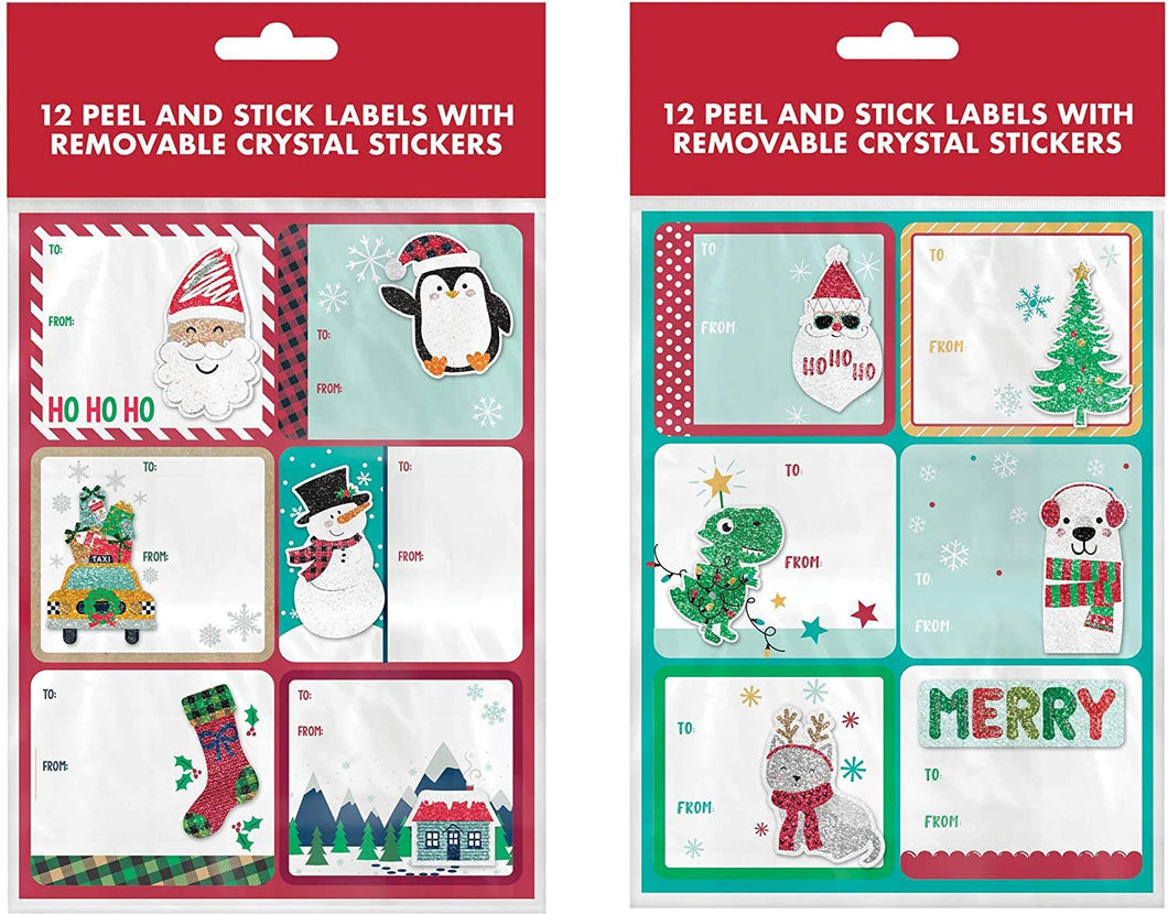 B-THERE 24ct Kids Christmas Holiday Self-Adhesive Stick-on Holographic Gift Tags w/Removable Bubble Sticker of Dinosaurs, Dog, Santa, Penguin, Stocking, Snowman