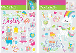 B-THERE Bundle of Easter Raised Patch Stickers, Peal and Stick Removable Decals for Books, Cards, Windows, Glass with Llama, Unicorn, Bunny, Rainbow, More