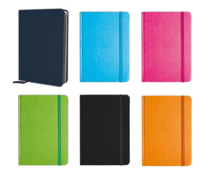 "Personal Notebook Set (6 Notebooks Total) 5.8"" x 8.3"" Lined Pages, Stationery Notepads w Textured Colored Covers, Elastic Band and Ribbon Bookmarks"