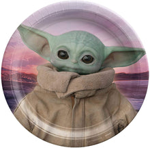 Load image into Gallery viewer, Baby Yoda Party Supplies Set for 8 - Plates, Cups, Napkins, Cutlery, & Stickers