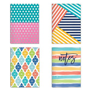 "B-THERE Bundle of Hardback Notebooks - 4 Different Designs - 5"" x 7"" Foil Finishes Notebooks Stationery"