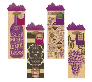 All Occasion Party Gift Bags - Set of 4 Cork Bottle Bag w/Tags & Tissue Paper