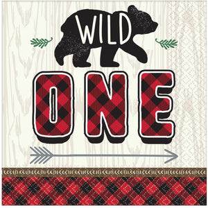 amscan 5121501 Little Wild One Luncheon 33cm-16 Pcs, Lunch Napkin Ltl Lumberjack Birthday-1St Birthday