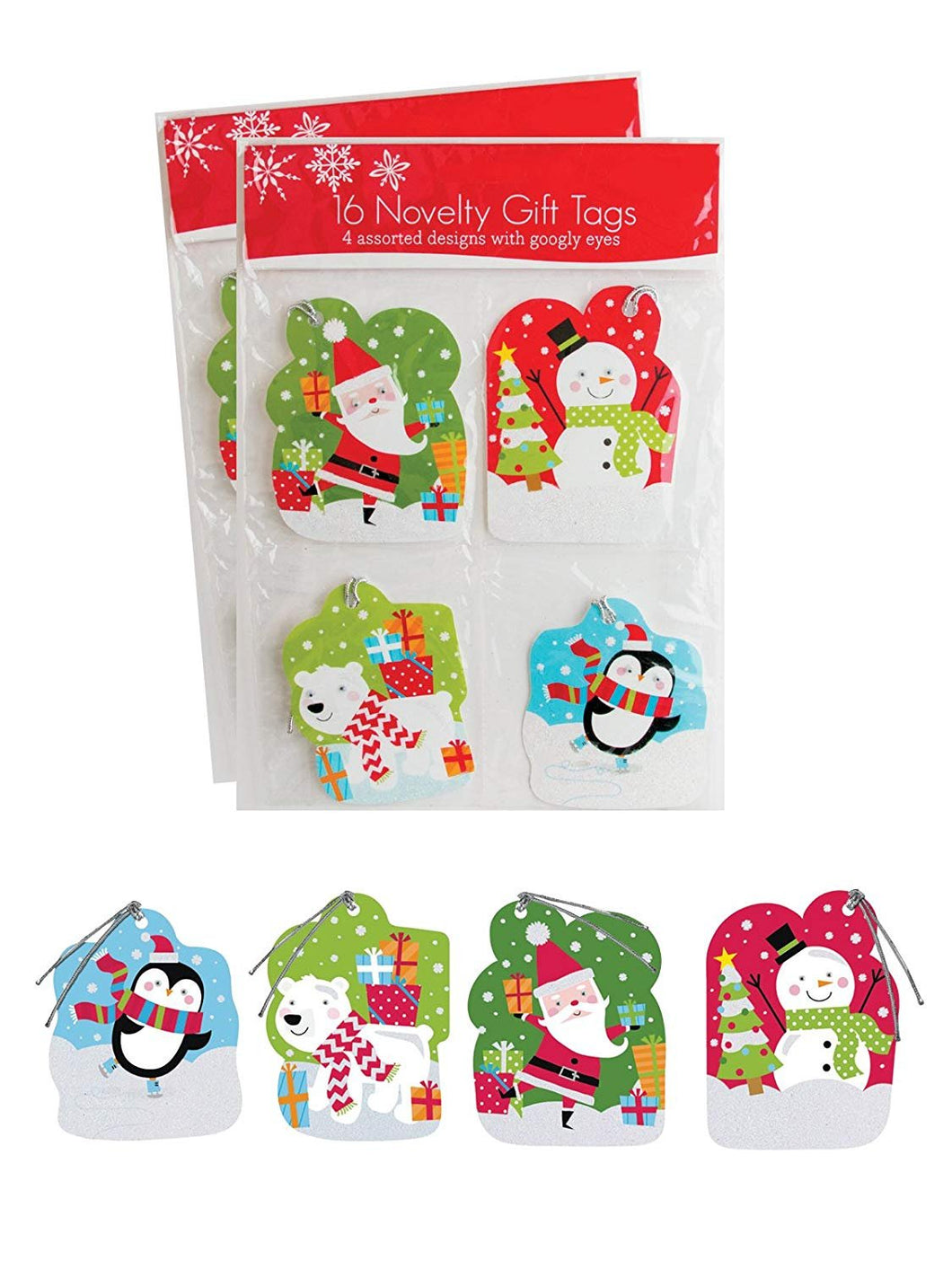 Pack of 32 Christmas Novelty Gift Tags w/Googly Eyes 4 Different Designs - Juvenile