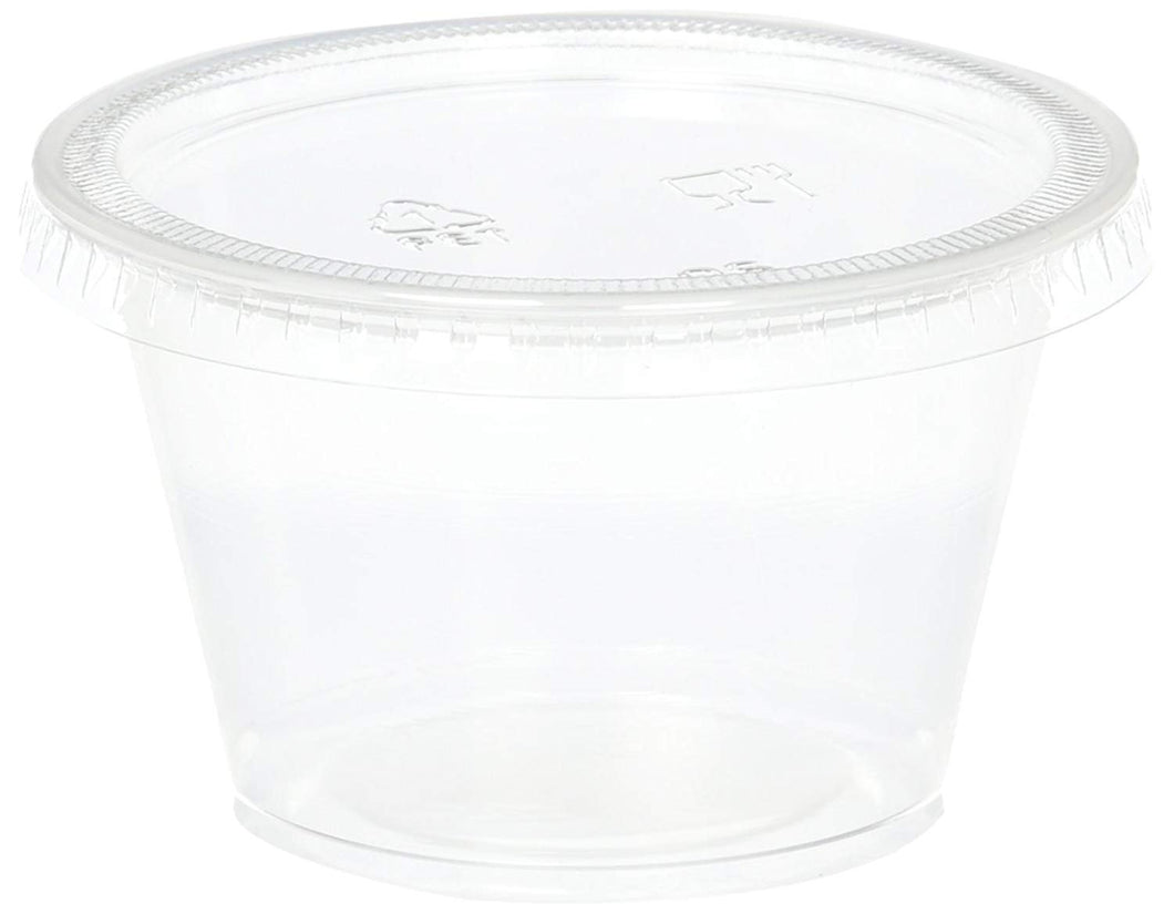 B-KIND Disposable 4oz Plastic Condiment Cups with Lids, Sample Cup, Jello Shot Cups, Salad Dressing, Souffle Portion, Sampling (50, Clear)