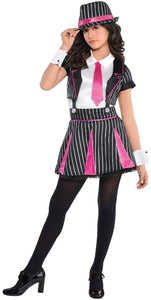 amscan Girls Mob Doll Gangster Costume - Medium (8-10), Multicolor