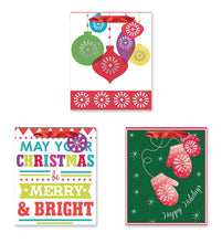 Load image into Gallery viewer, 3 Count Large Christmas Gift Bags Xmas Gifting Bags