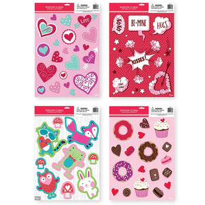 Large Pack of Valentine's Day Window Clings Decorations for Valentine Day