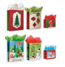 Load image into Gallery viewer, 6 Pack of Assortment Christmas Gift Bags Xmas Giftbags - Traditional And Juvenile Designs w/ Foil & Glitter Finishes on Each Bag!