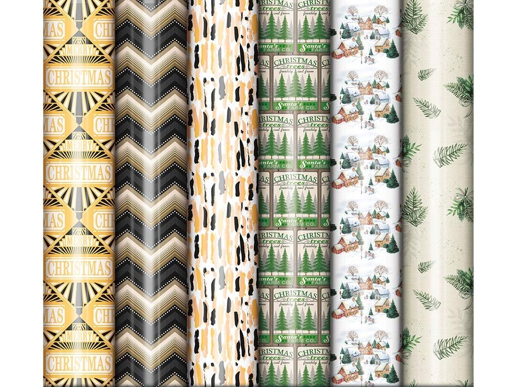 Bundle of 6 Rolls of Christmas Holiday Gift Wrapping Paper, Contemporary Xmas Wrap