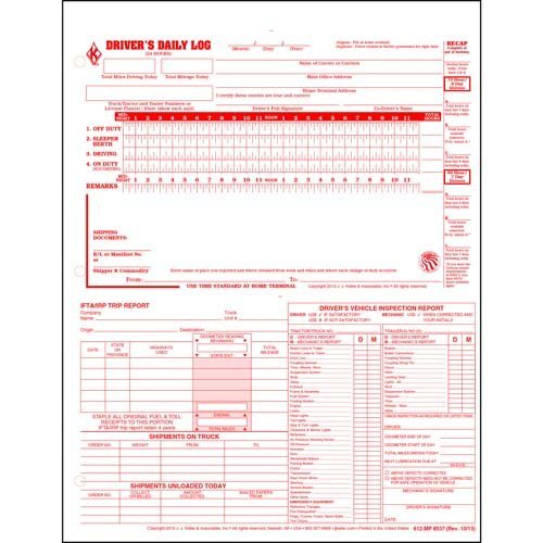 5-In-1 Driver's Daily Log, Loose-Leaf Format - Retail Packaging (Qty: 10 Units)