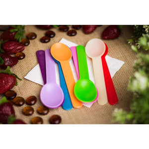 B-KIND Party Pack 100 Count Cutlery Durable Heavy-Weight Bio-Based Disposable Spoons for Camping, Picnics, Parties, and Wedding (Rainbow)