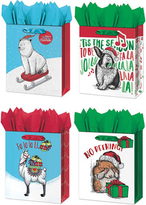 B-THERE Bundle 4ct Christmas Holiday Large Gift Bags Foil Finish of Llama, Rabbit, Polar Bear and Hamster