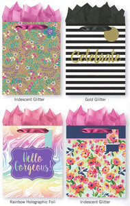 Pack of 4 Large All Occasion Gift Bags. Assortment of Foil and Glitter Embellishments