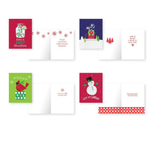 Load image into Gallery viewer, Pack of 32 Christmas Cards, Assorted Cards 8 Designs. 4.25in x 5.5in Cards with Envelopes