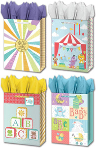 "B-THERE Bundle of 4 Jumbo 13"" x 18"" x 5"" Baby Gift Bags with Tags, Tissue for Boy, Girl, Shower, Birthday, Special Occasion"