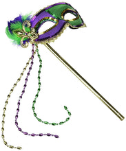 "Load image into Gallery viewer, Mardi Gras Party Stick Mask, 16.75"" x 7"""