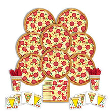 Load image into Gallery viewer, B-THERE Pizza Party Supplies Any Occasion Party Pack - Seats 8: Napkins, Plates, Cups and Stickers -...