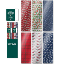 "Load image into Gallery viewer, Bundle of 6 Rolls of 30"" Premium Foil Traditional Merry Christmas Holiday Gift-wrap Wrapping Paper, Snowflakes, Pickup Truck, Plaid, Ornaments"