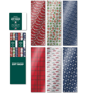 "Bundle of 6 Rolls of 30"" Premium Foil Traditional Merry Christmas Holiday Gift-wrap Wrapping Paper, Snowflakes, Pickup Truck, Plaid, Ornaments"