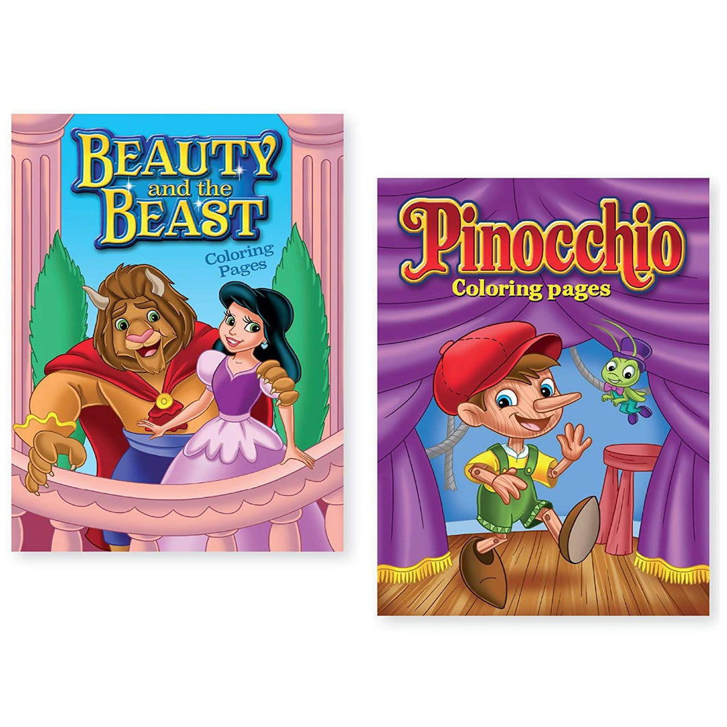 Bundle of 2 Beauty and the Beast and Pinocchio Coloring Books